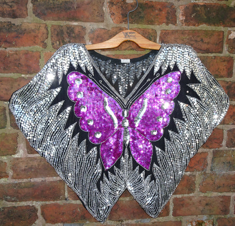 Vintage 1970s Indian Heavily Sequinned Pure Silk Butterfly Disco Top