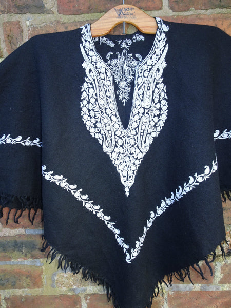 Vintage Indian Embroidered Wool Hippie Festival Poncho