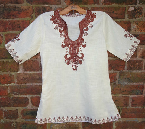 Vintage 1970s Indian Homespun Cotton Hand Embroidered Hippie Tunic Top