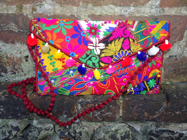 Handmade Kutch Indian Patchwork Pom Pom & Natural Shell Hippie Envelope Clutch