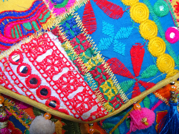Handmade Kutch Indian Patchwork Tassel Pom Pom Hippie Envelope Clutch