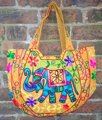 Handmade Indian Mirrorwork Embroidered Orange Elephant Tote Bag