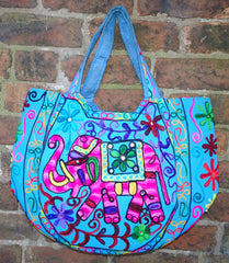 Handmade Indian Mirrorwork Embroidered Turquoise Elephant Tote Bag