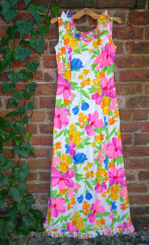 Vintage 1970s Psychedelic Cotton Ruffled Maxi Dress