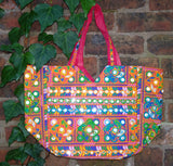 Handmade Indian Mirrorwork Embroidered Pink Banjara Tote Bag