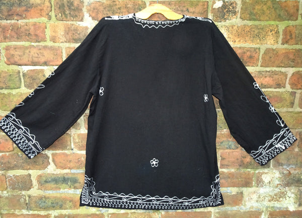 Vintage 1970s Moroccan Hand Embroidered Hippie Tunic Top