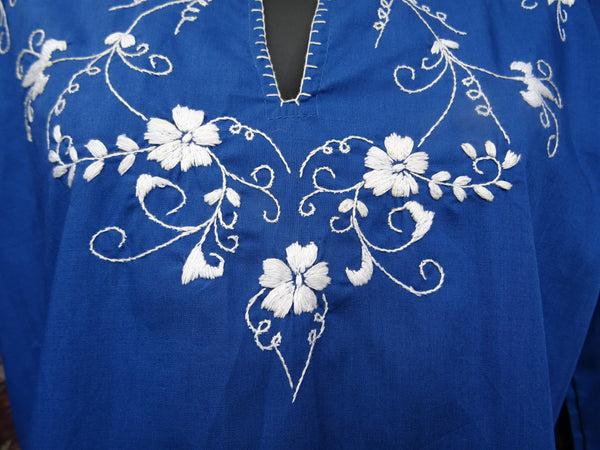 Vintage 1970s Hippie Hand Embroidered Peasant Blouse