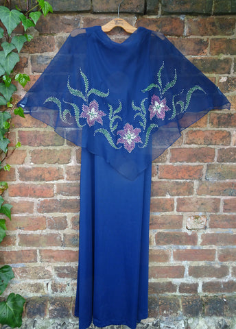 Vintage 1970s Midnight Blue Maxi Dress With Attached Chiffon Cape