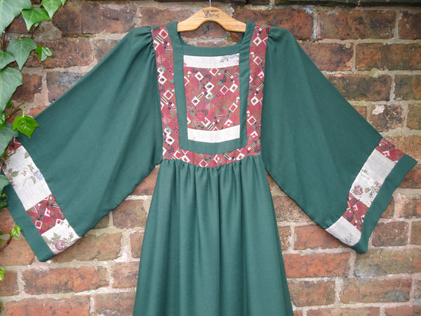 Vintage 1970s Afghan Nomad Style Handmade Maxi Dress Collier Campbell Fabric