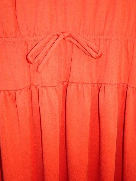 Vintage 1970s Orange Rust Peasant Hippie Midi Dress