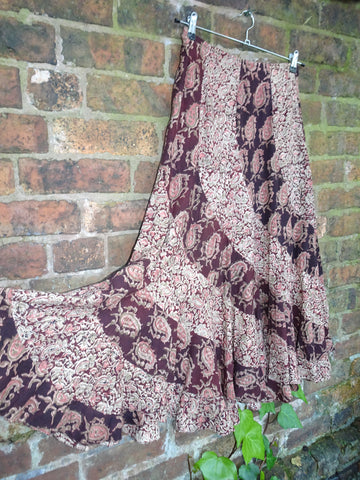 Vintage Hippie Block Printed Indian Cotton *FabIndia* Gypsy Festival Skirt