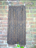 Vintage Hippie Indian Printed Wool Mix Maxi Skirt by Azieno