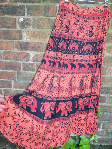 Hippie 1970s Style Block Printed Indian Cotton Elephant & Horse Wraparound Maxi Skirt