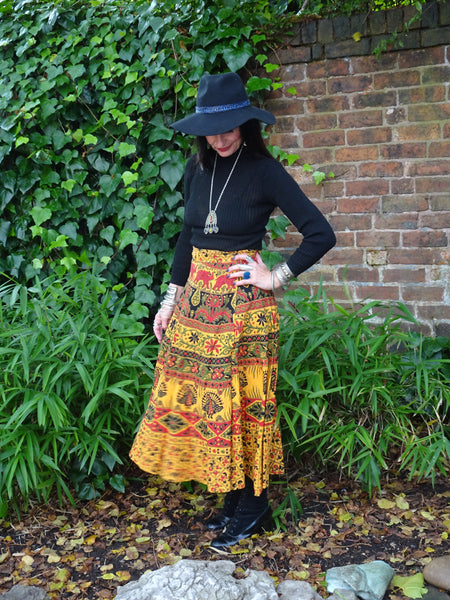 Hippie 1970s Style Block Printed Indian Cotton Peacock Wraparound Midi Skirt