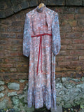 Vintage 1970s Gauzy Mughal Empire Print Prairie Vamp Dress