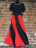 *Turning The Town Red* Vintage 1970s Statement Stripe Maxi Dress