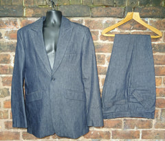 "*And, On The Seventh Day, God Created Manchester* Vintage ""Acid Test"" Rave Era Denim Suit"