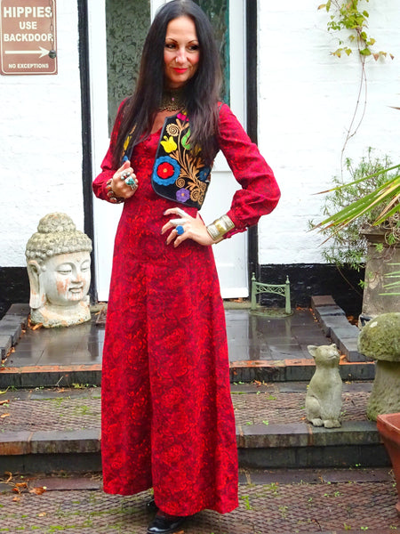 Vintage 1960s Psychedelic Printed Wool Winter Hippie Maxi Dress