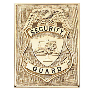 "HWC Rectangular security badge 3 3/8"" x 2-5/8"" Pin Back / Hat Badge - GOLD"