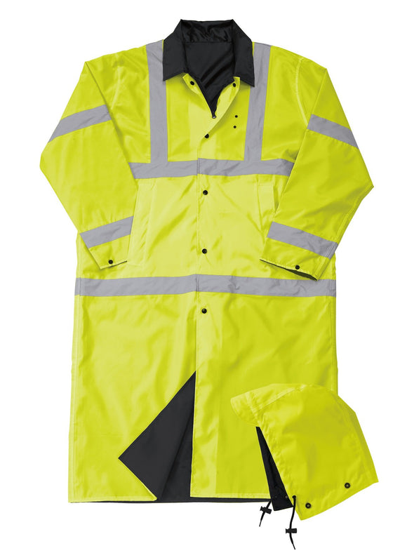 Liberty Uniform Class 3 ANSI Compliant Hi-Visibility Reversible Police Raincoat with Hood Uniform Apparel, USA Made