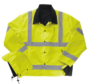 Liberty Uniform Class 3 ANSI Compliant Hi-Visibility Reversible Police Rain Jacket with Hood Uniform Apparel, USA Made