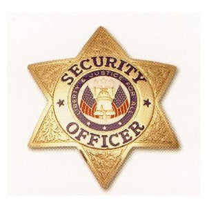 HWC 6 Point Security Officer with Full Color Justice Seal Pin Back /Breast Badge - Gold