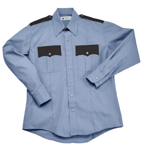 Liberty Uniform Long Sleeve Two-Tone Police Shirt Permanent Press Uniform Apparel, USA Made