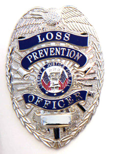"HWC Loss Prevention Officer with Full Color Justice Seal 3"" x 2-1/4"" Pin Back / Breast Badge - Silver"