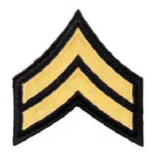 "Corporal Chevrons - 3"", 1 Color Embroidery Patch - 4 Color Choices - 1 Pair"