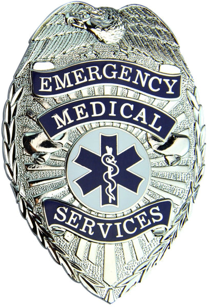 "HWC Emergency Medical Service (EMS) Badge with Full Color Seal 3"" x 2-1/4"" Pin Back / Breast Badge - Nickel"