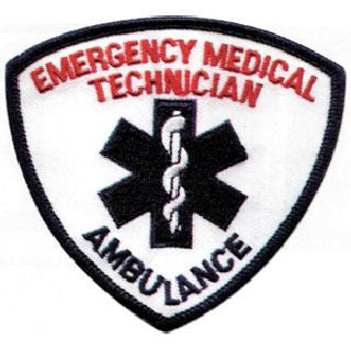EMT Shoulder Patch - Blue and Red on White - 1 Pair