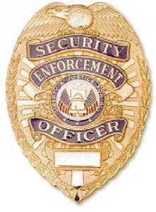 Tactical 365 Security Enforcement Officer with Full Color Justice Seal Pin Back /Breast Badge - Lightweight Nickel or Gold