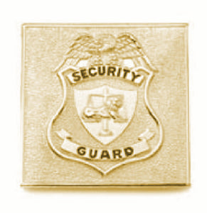 "HWC Square Security Guard badge 2"" x2"" Pin Back Breast Badge - Gold"