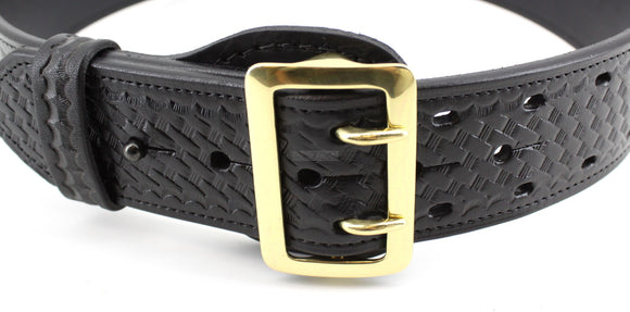 Sam Browne 2 1/4 in Wide Duty Belt - Choice of Basket Weave - Plain - Nickel or Brass Buckle