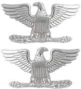 Collar Rank - Insignia Colonel ( Eagle ) Small 3/4 Inch Nickel Plated