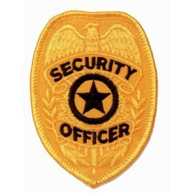 SECURITY OFFICER Guard Gold Uniform Badge Shield Patch Emblem Insignia 2-3/8