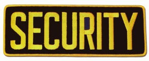 "SECURITY Large Uniform Jacket Back Patch 11"" x 4"" with 3"" High GOLD letters on BLACK Background"