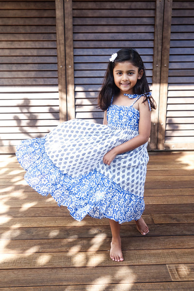 The Mini Scarlett Boho Dress in Blue - aryanaclothing