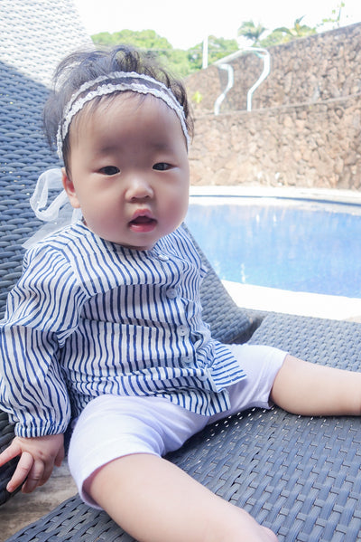 Ayla Baby Tunic in Indigo Stripes - aryanaclothing
