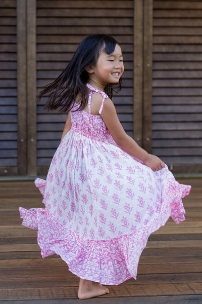 The Mini Scarlett Boho Dress in Pink - aryanaclothing