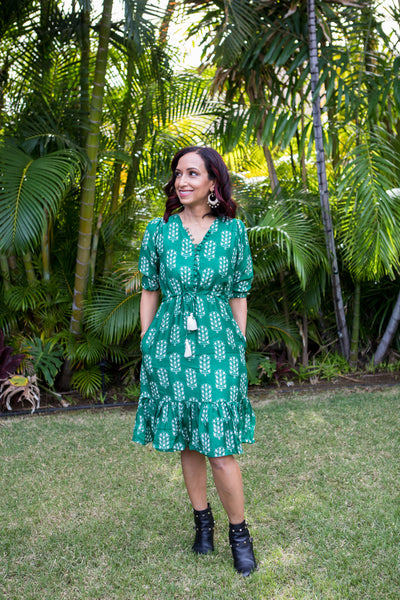 Arya Short Dress in Emerald - aryanaclothing