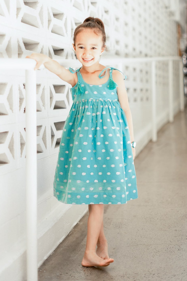 The Mini Nikki A-Line Dress in Blue Lurex Dots - aryanaclothing