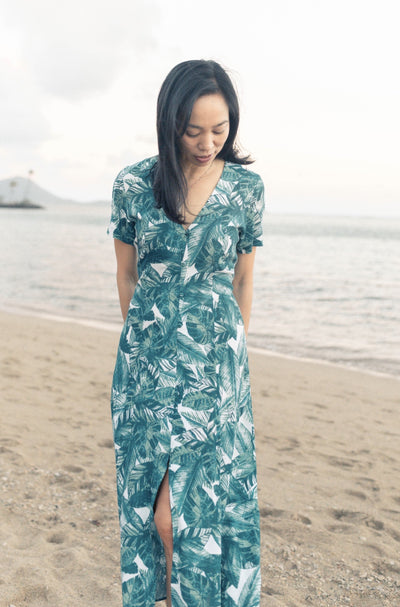 Hazel Dress in Banana Leaf - aryanaclothing