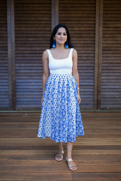 The Sahana Panel Skirt in Blue - aryanaclothing