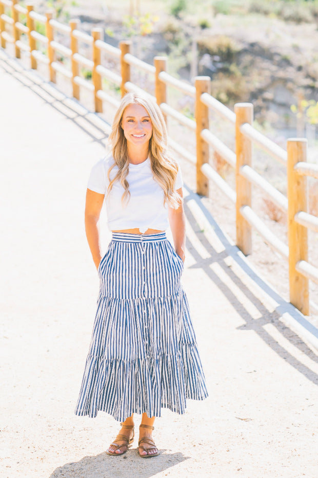 The Amelia Skirt in Indigo Stripes - aryanaclothing