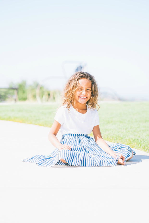 The Mini Ana Skirt in Indigo Stripes - aryanaclothing