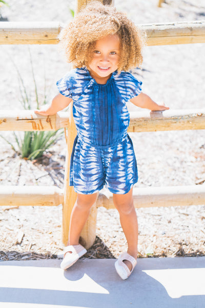 The Mini Maya Tie Dye Romper in Blue - aryanaclothing
