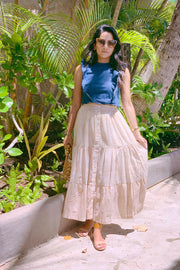 The Amelia Skirt in Golden Stripes - aryanaclothing