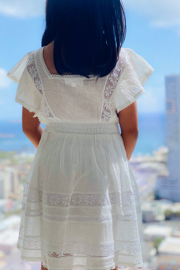 Mini Uma Dress in Vintage White - aryanaclothing