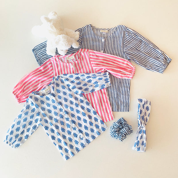 Ayla Baby Tunic in Blue Block Print - aryanaclothing
